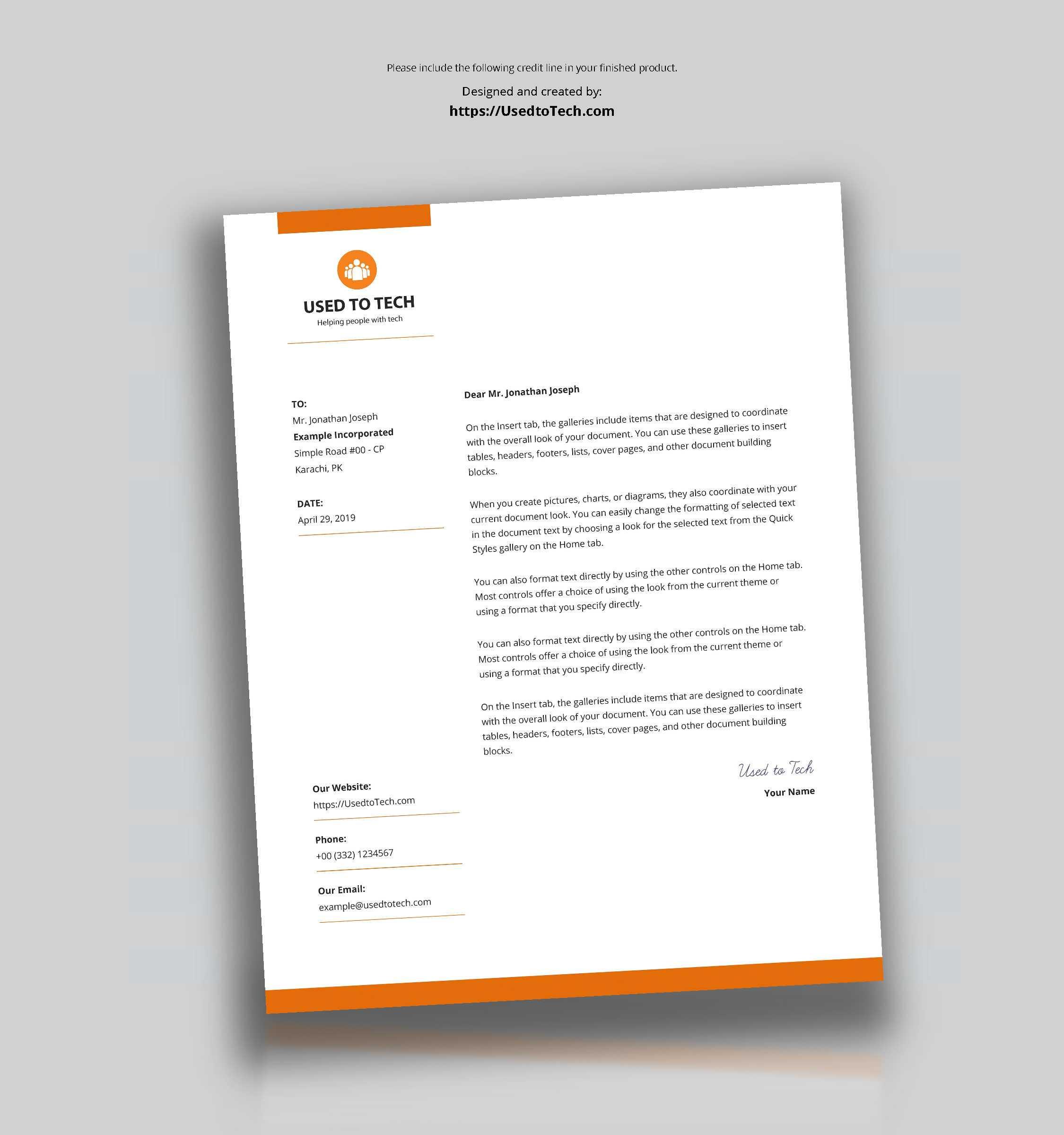 Modern Letterhead Template In Microsoft Word Free - Used To Tech Regarding Free Letterhead Templates For Microsoft Word