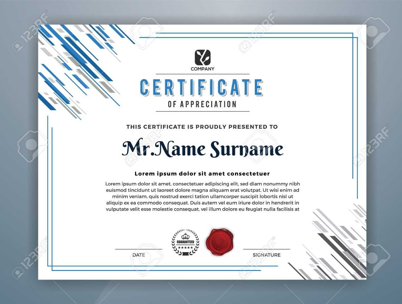 Multipurpose Modern Professional Certificate Template Design.. Throughout Design A Certificate Template