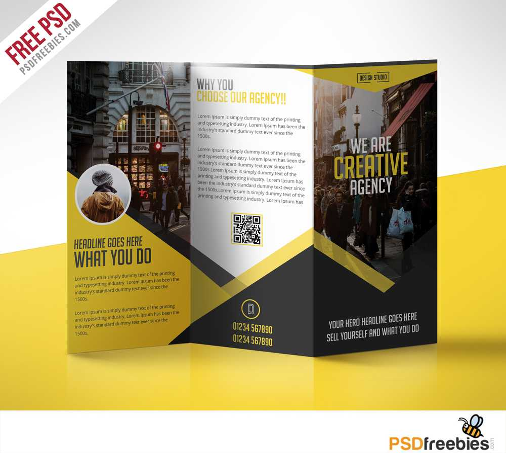 Multipurpose Trifold Business Brochure Free Psd Template With Regard To Free Three Fold Brochure Template