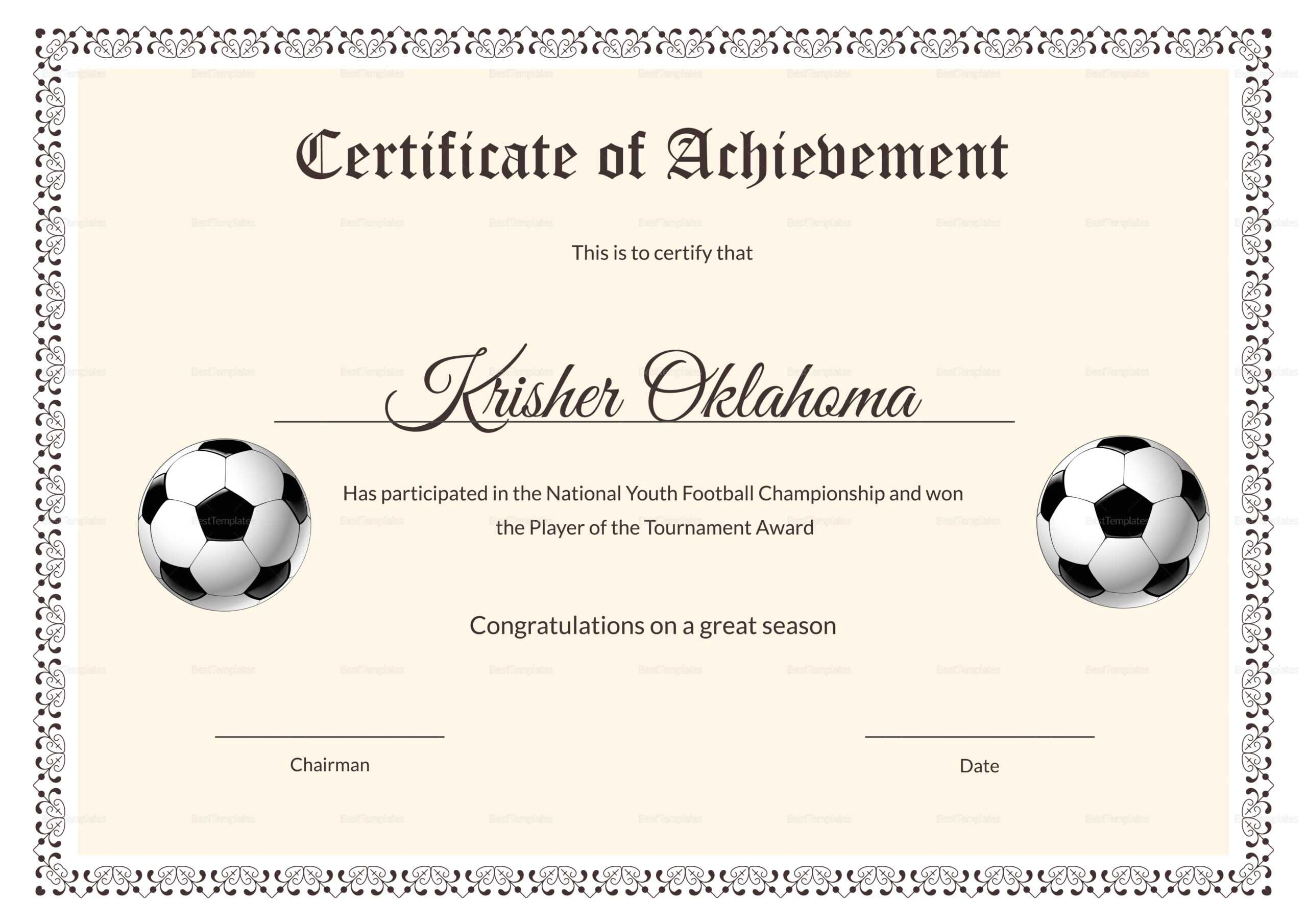 National Youth Football Certificate Template Throughout Football Certificate Template