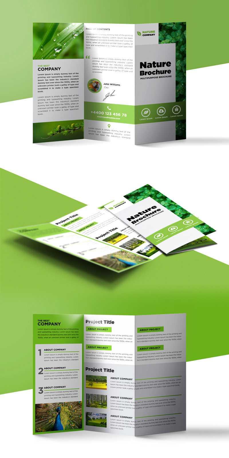 Nature Tri Fold Brochure Template Free Psd | Psdfreebies With Free Three Fold Brochure Template
