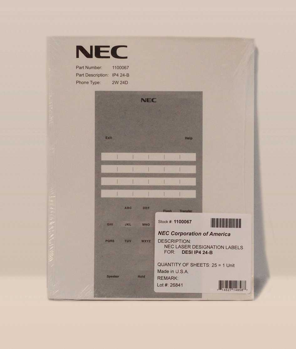 Nec Sl1100 24 Button Telephone Ip4Ww 24Txh B Tel Label With Regard To Desi Telephone Labels Template