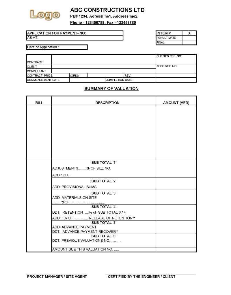 Payment Application Format For Construction Companies Regarding Construction Payment Certificate Template