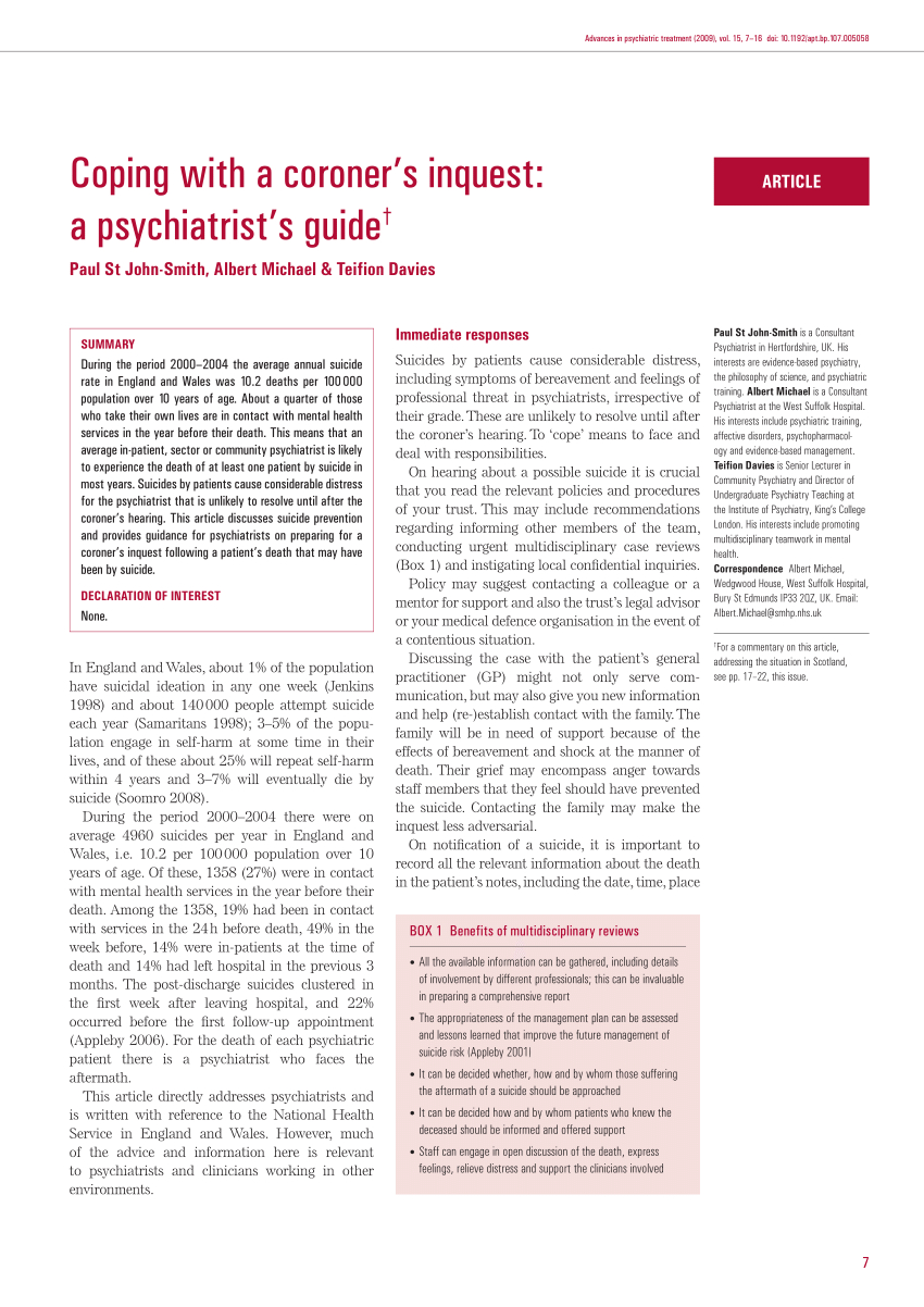 Pdf) Coping With A Coroner's Inquest: A Psychiatrist's Guide Regarding Coroner's Report Template