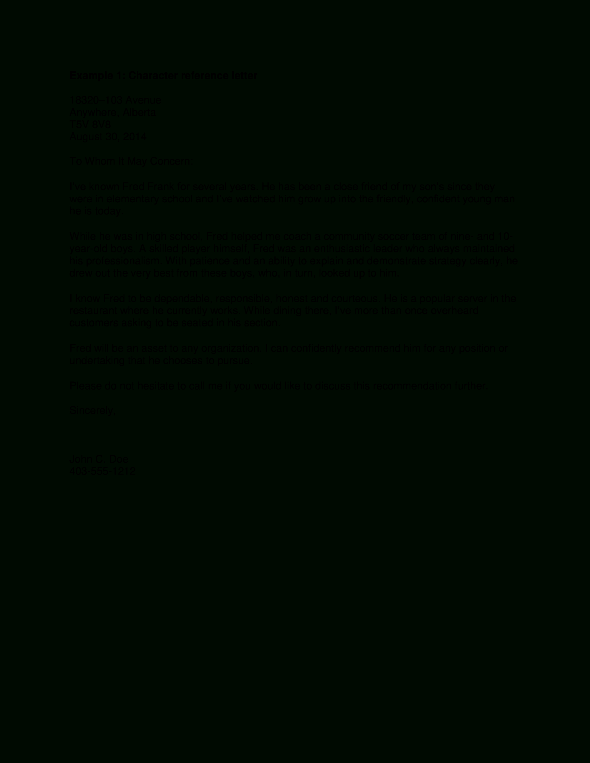 Personal Character Reference Letter | Templates At Regarding Example And Template For Personal Or Character Reference Letter