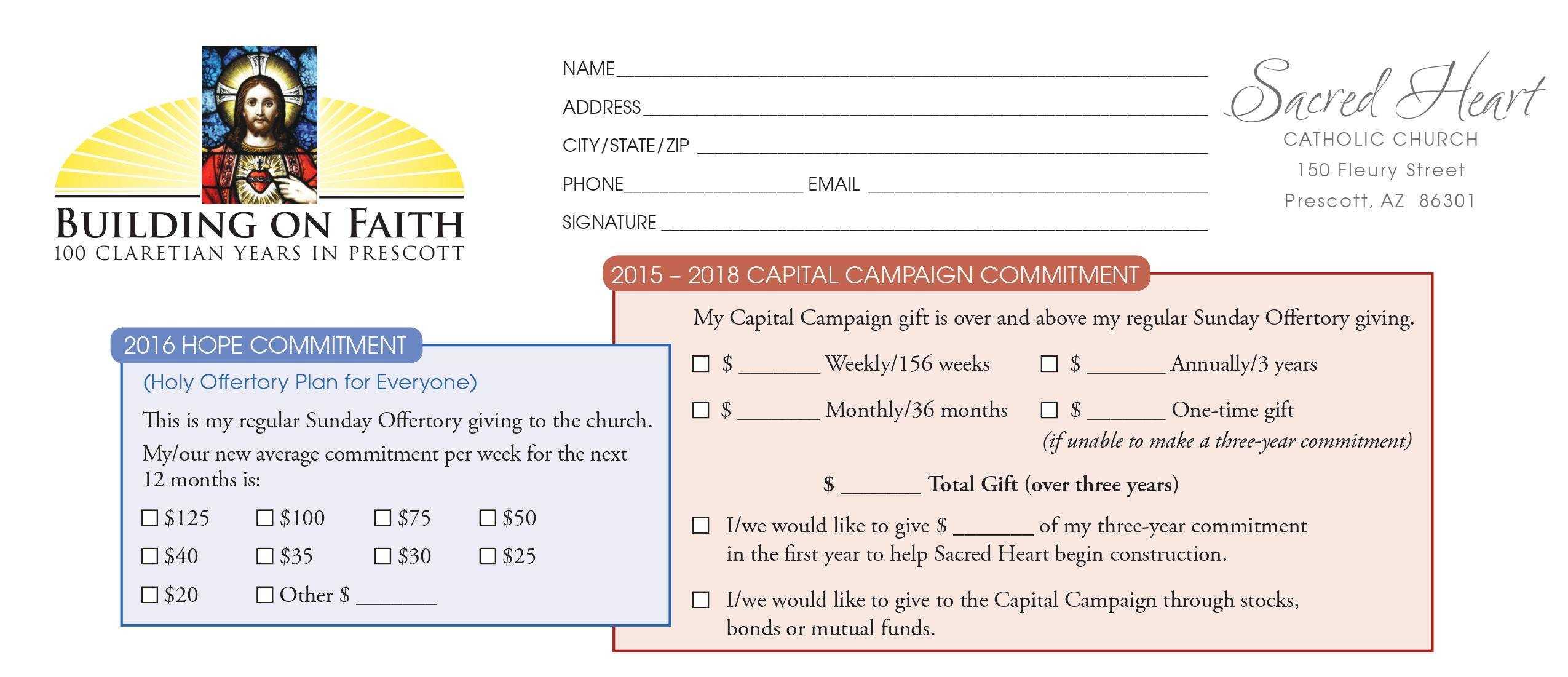 Pledge Card Sample - Horizonconsulting.co In Church Pledge Card Template
