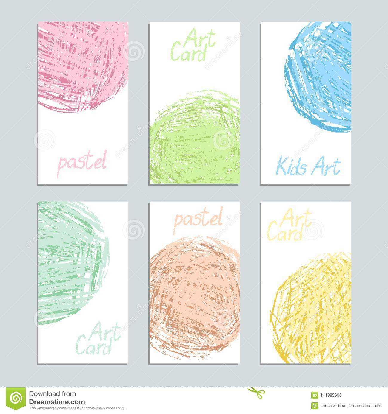 Poster Template Set With Pastel Soft Color Crayon Card. Hand Regarding Crayon Labels Template