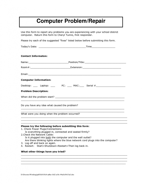 Preventive Maintenance Report Format Excel Service Form Intended For Computer Maintenance Report Template