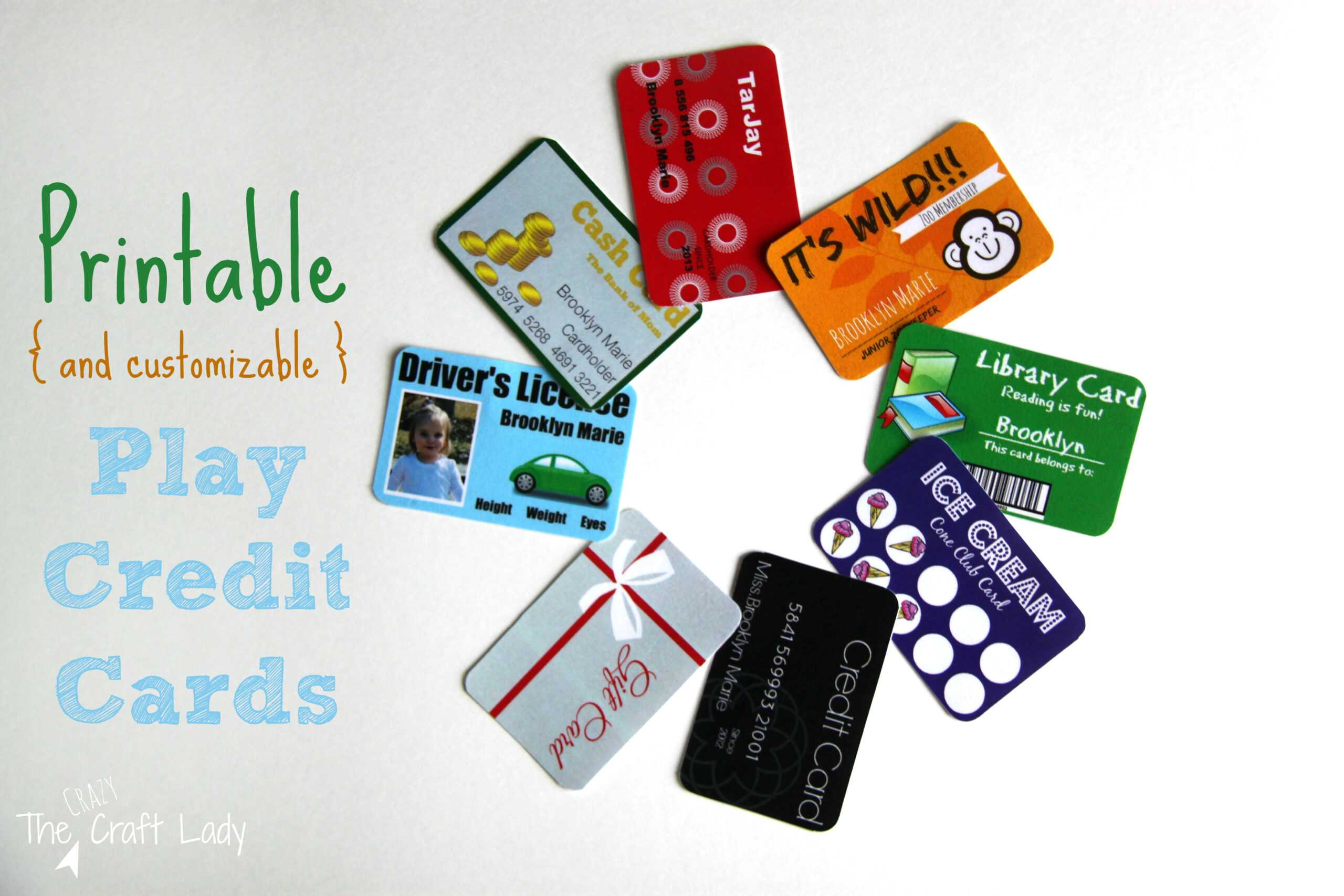 Printable (And Customizable) Play Credit Cards - The Crazy Inside Credit Card Template For Kids