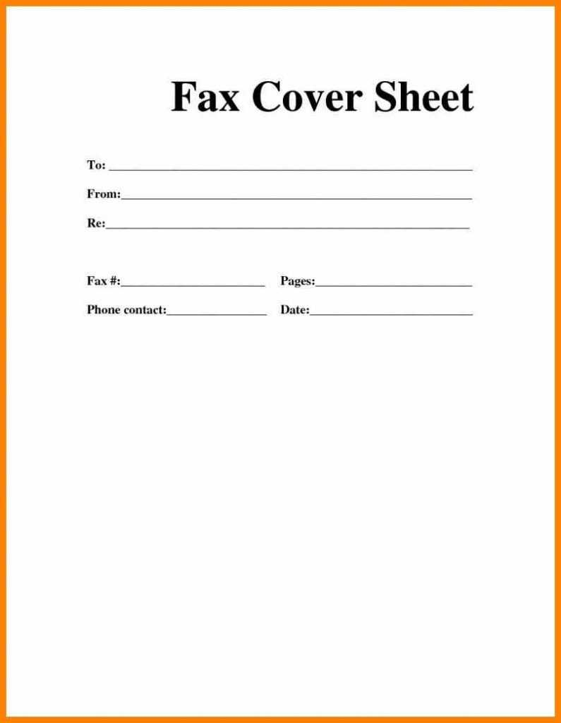 Printable Blank Microsoft Word Fax Cover Sheet For Fax Template Word 2010