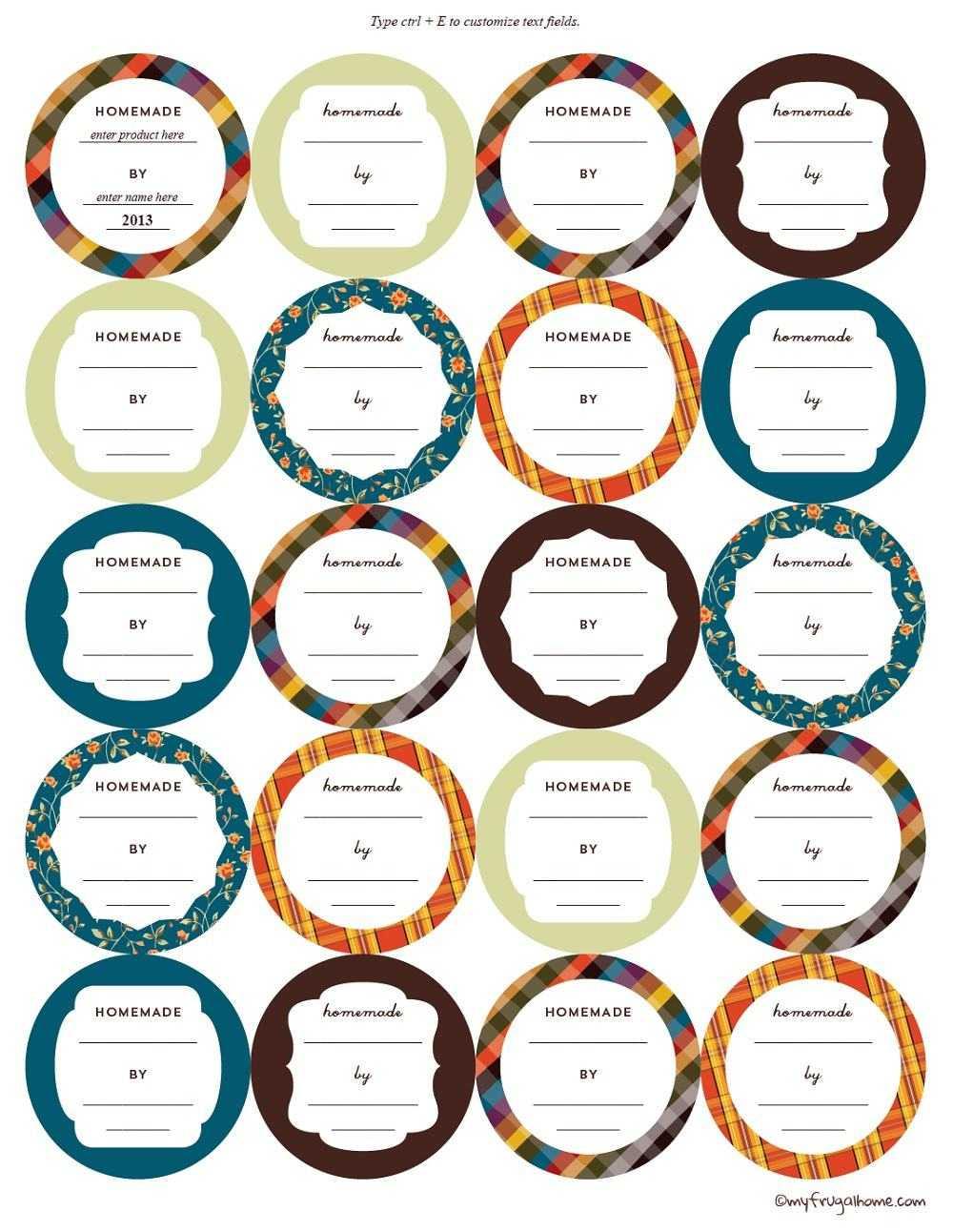 Printable Canning Jar Labels Regarding Free Printable Jar Labels Template