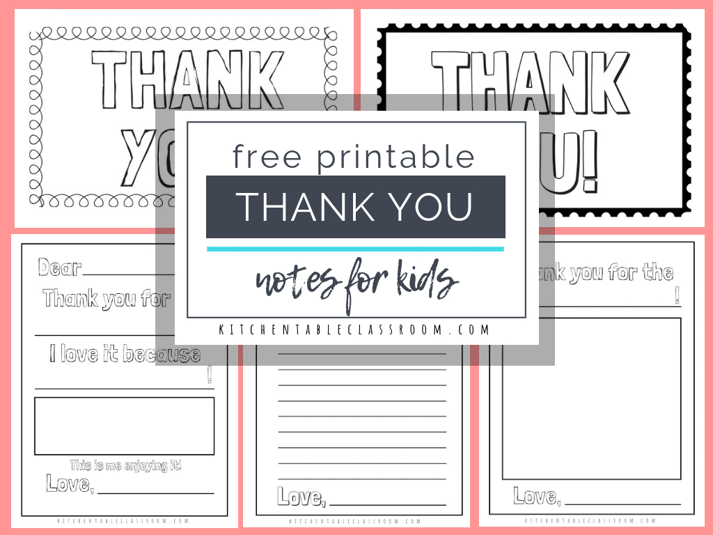 Printable Thank You Cards For Kids - The Kitchen Table Classroom Pertaining To Free Printable Thank You Card Template