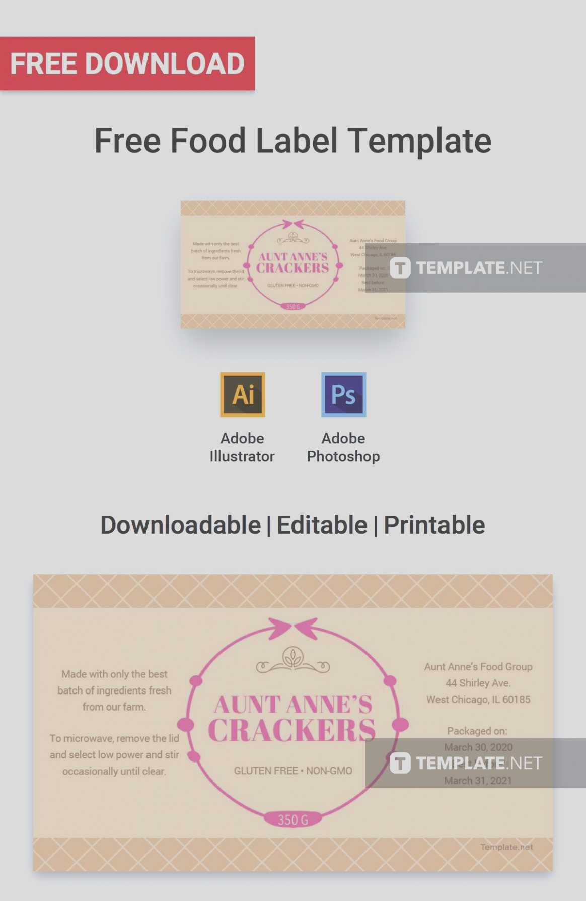 Product Labels Template For Food Product Labels Template