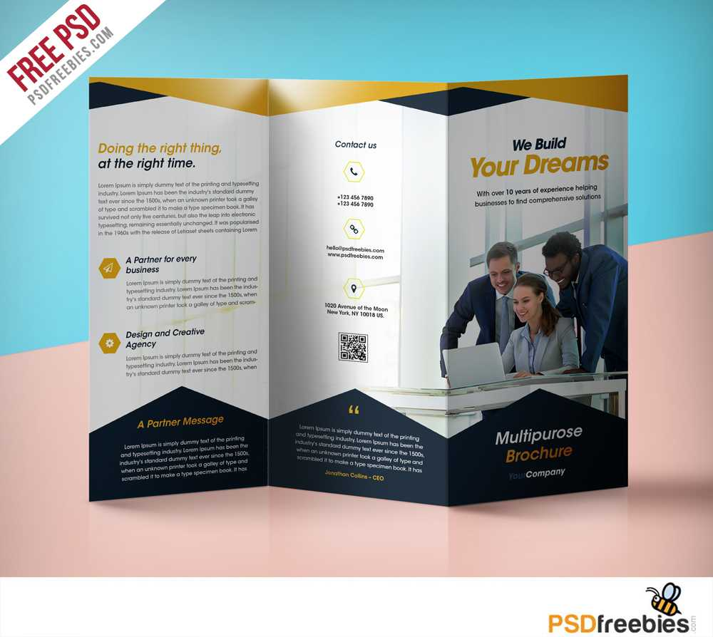 Professional Corporate Tri Fold Brochure Free Psd Template Within Flyer Design Templates Psd Free Download