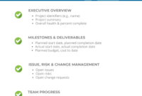 Project Status Report Checklist – Creating Your Weekly Report in Executive Summary Project Status Report Template