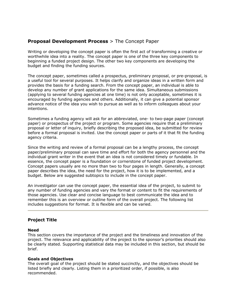 Proposal Development Process > The Concept Paper With Regard To Concept Note Template For Project