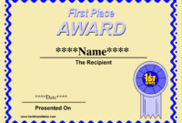 Qualified 1St Place Award Certificate Template With Yellow with regard to First Place Award Certificate Template