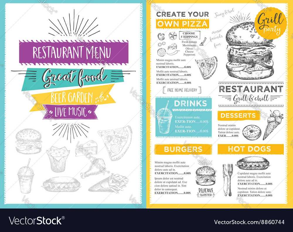 Restaurant Cafe Menu Template Design Inside Design Your Own Menu Template