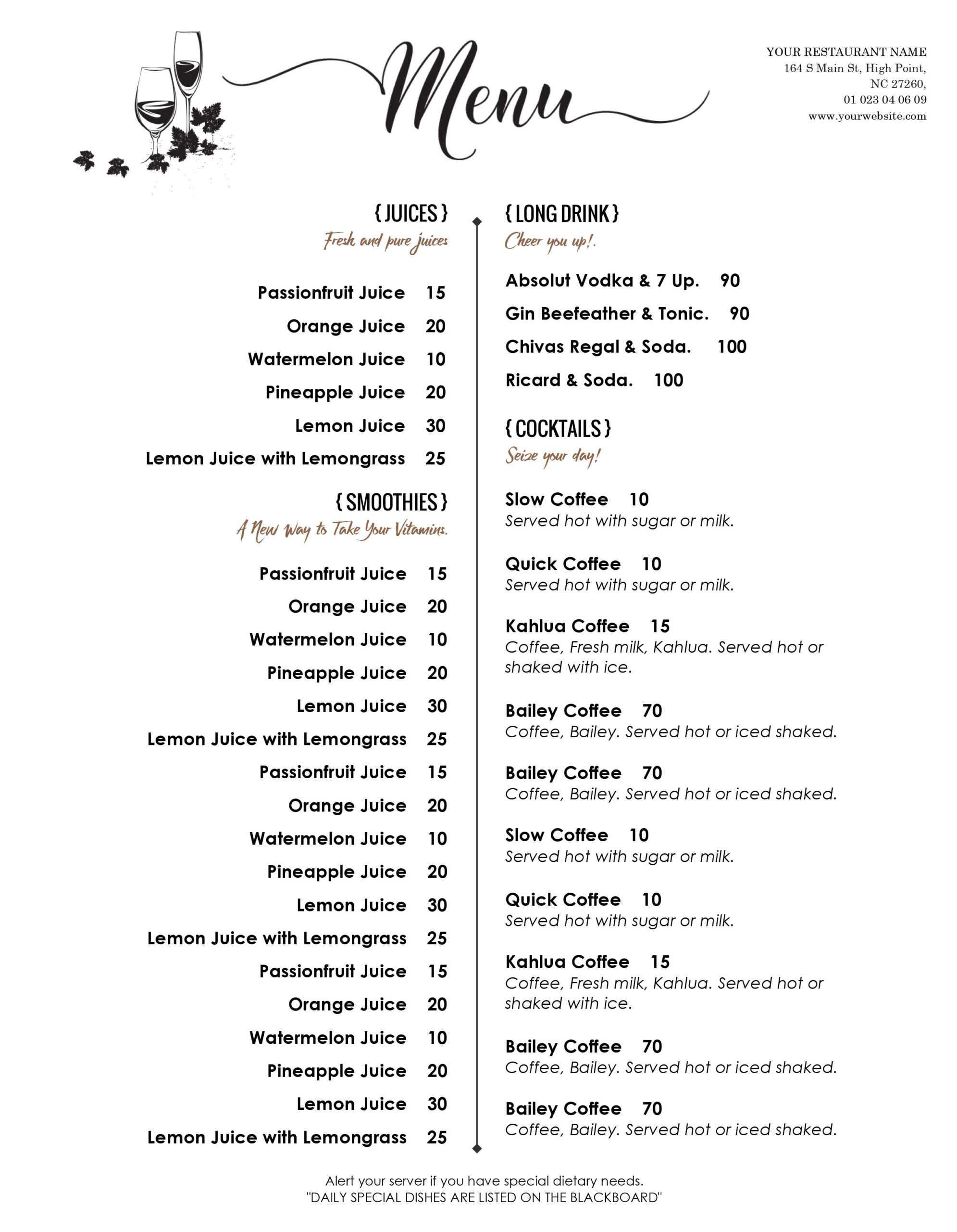 Restaurant Menu Template Word Fresh Design & Templates Menu With Editable Menu Templates Free