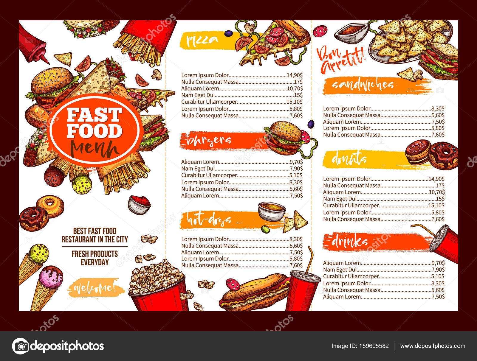 Restaurants Brochure Templates | Fast Food Restaurant Menu Throughout Fast Food Menu Design Templates