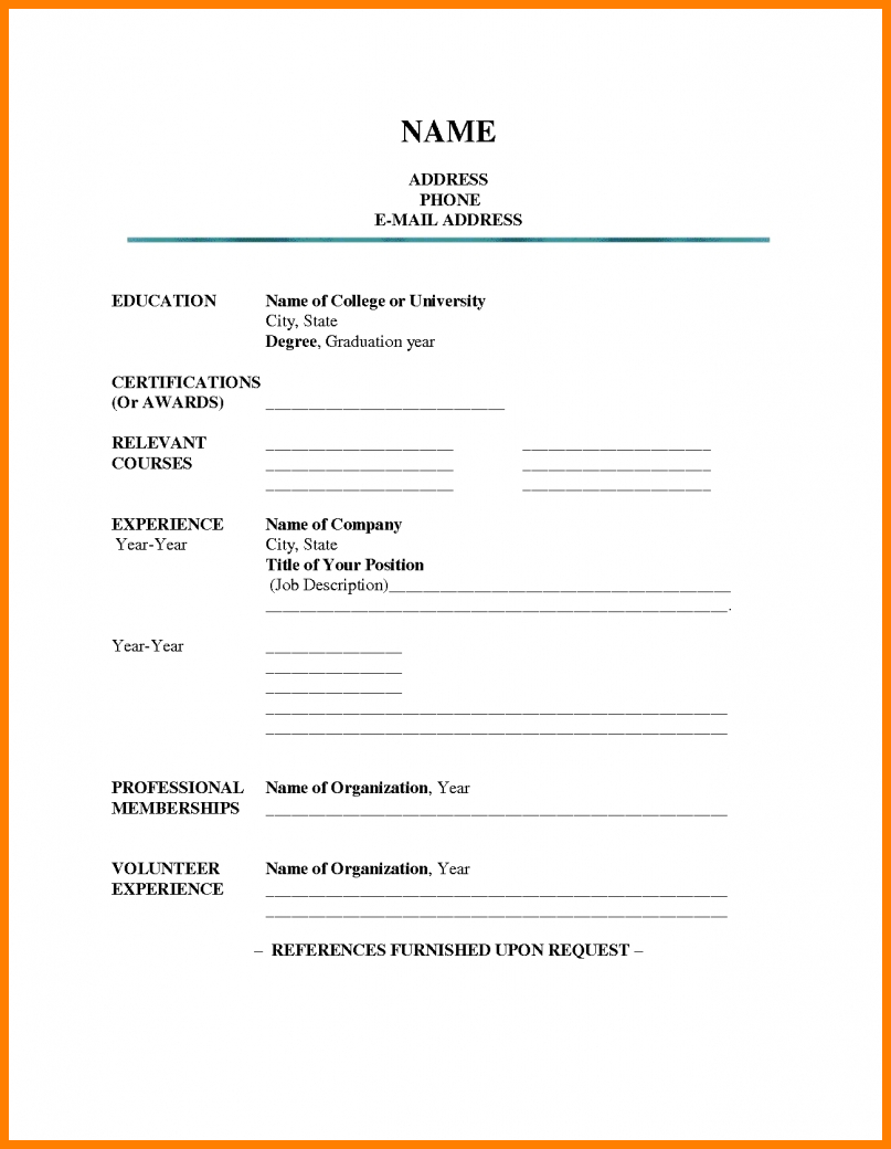 Resume Template Fill In Free – Colona.rsd7 With Regard To Free Blank Resume Templates For Microsoft Word