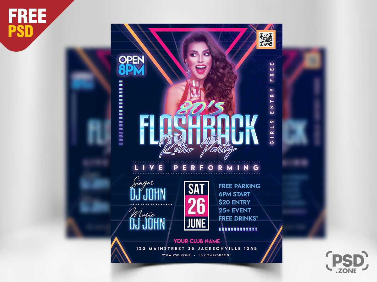 Retro Party Flyer Psd Template - Psd Zone With Free Templates For Party Flyers