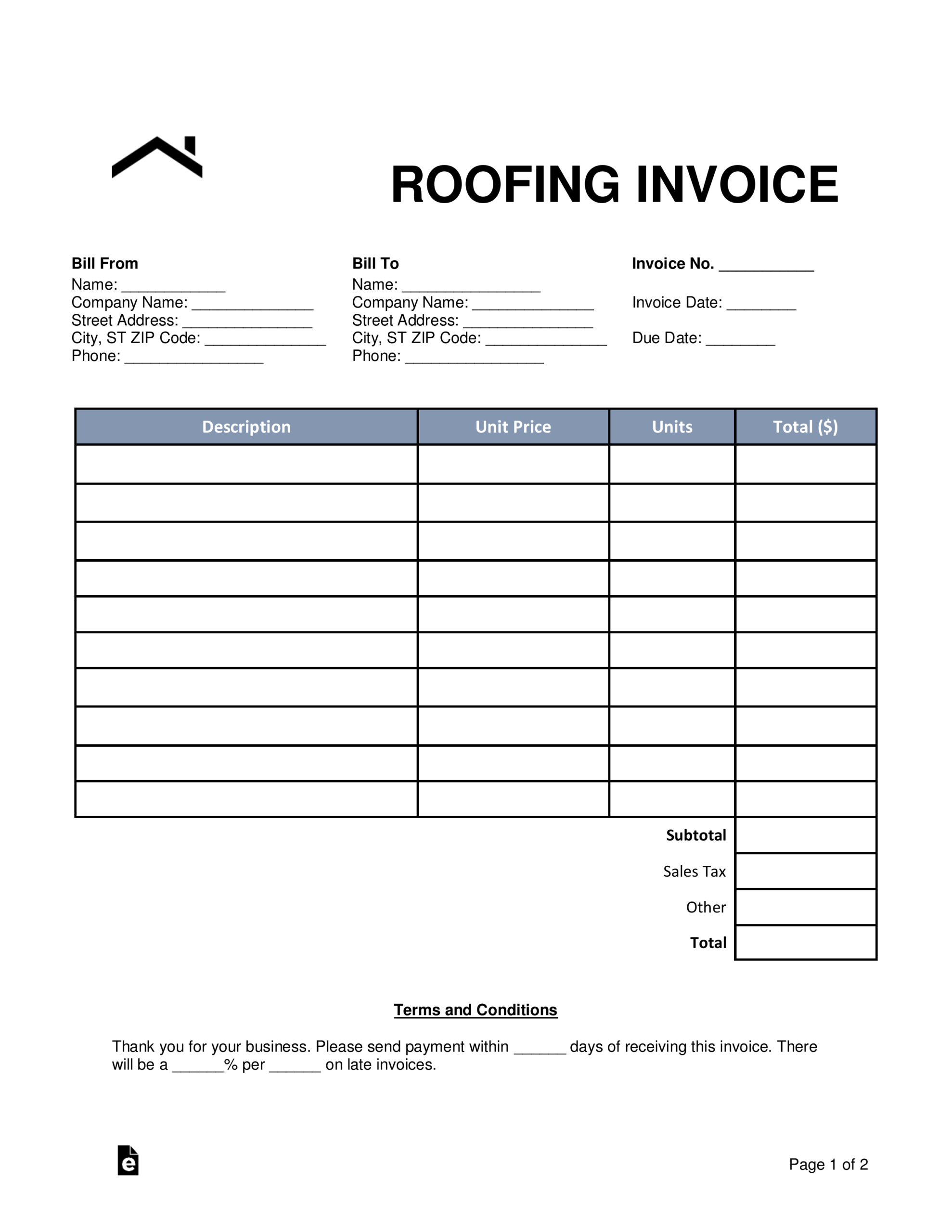 Roofing Invoice Template - Colona.rsd7 With Free Roofing Invoice Template