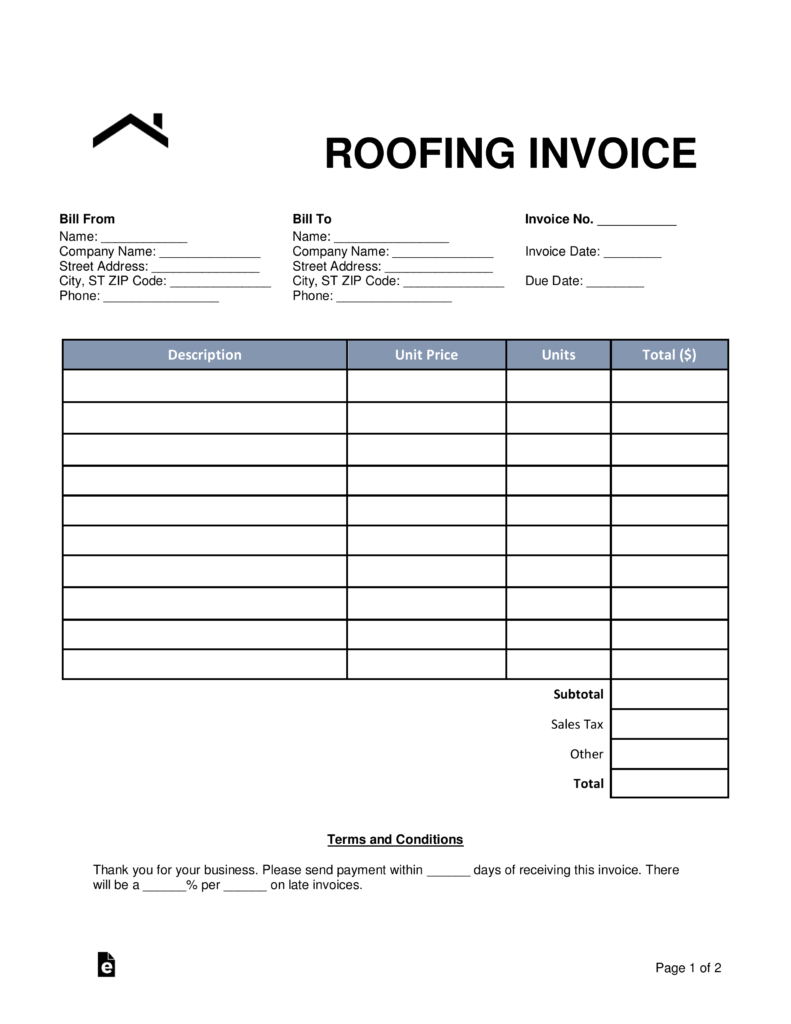 Roofing Receipt Template - Colona.rsd7 Inside Free Roofing Invoice Template
