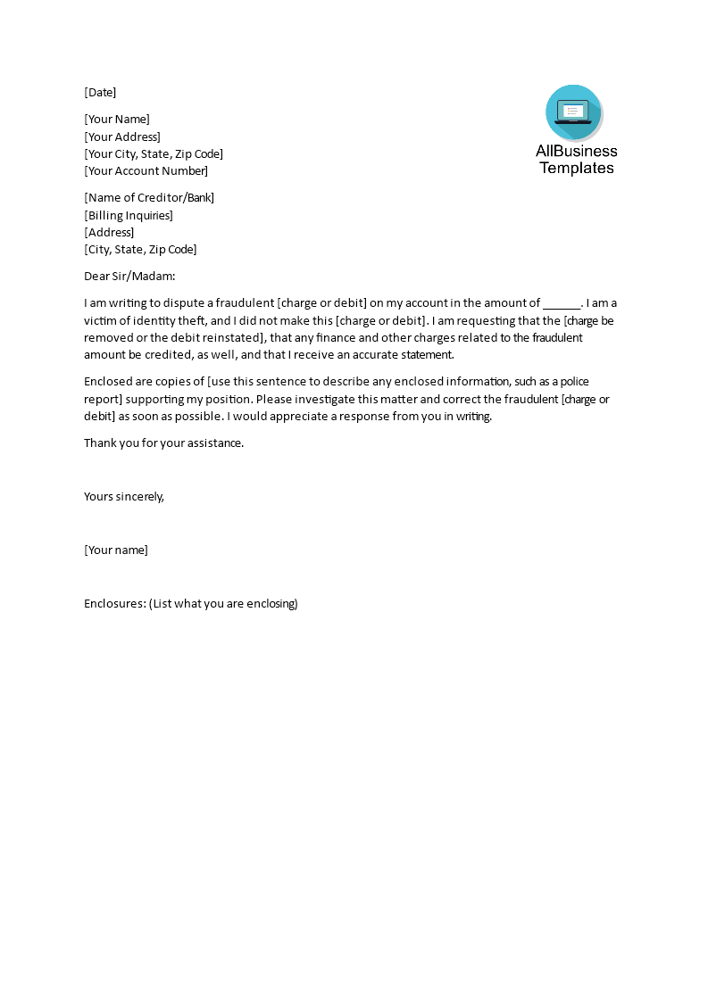 Sample Dispute Letter Template | Templates At Inside Credit Dispute Letter Template