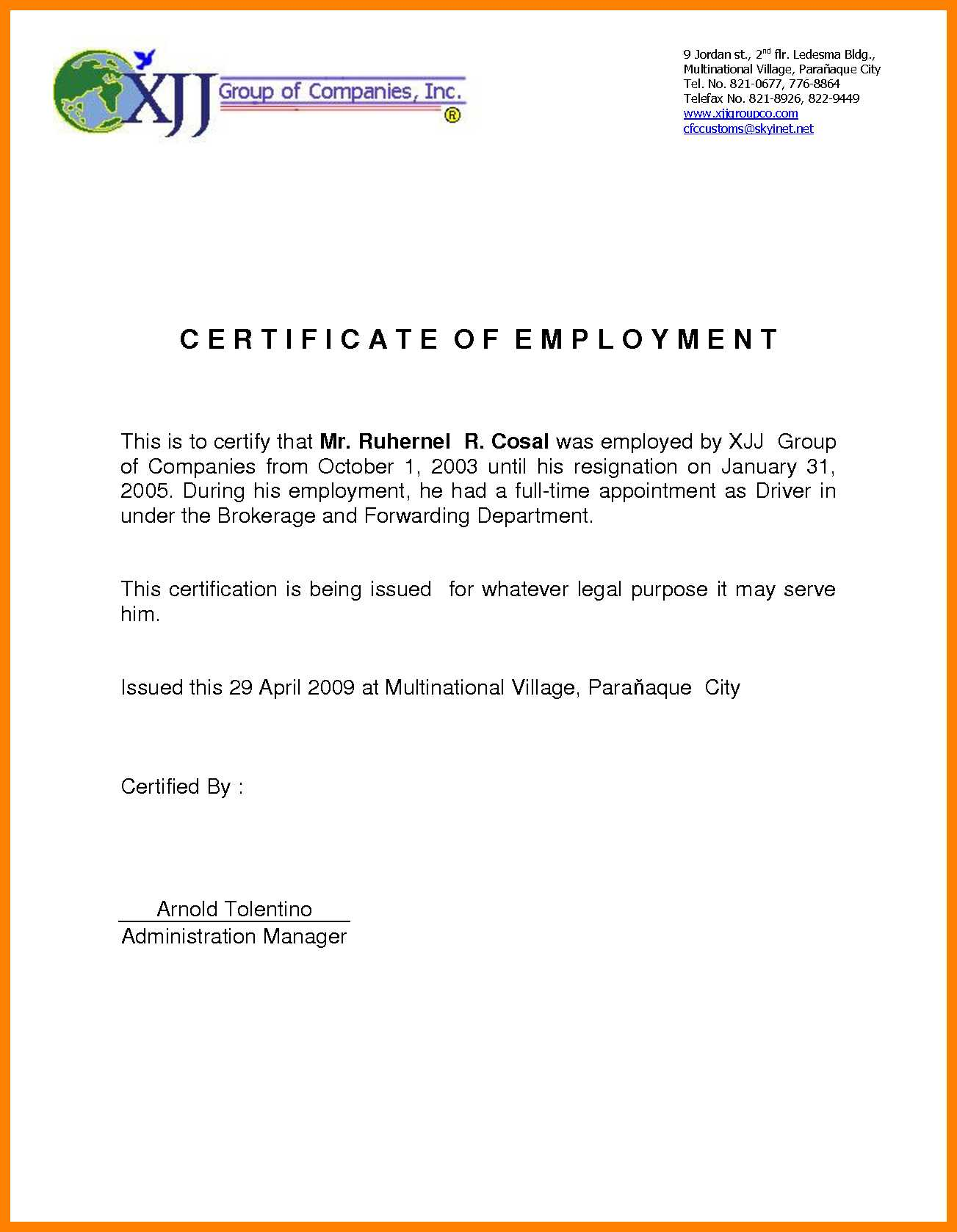 Sample For Certificate Of Employment - Tunu.redmini.co Regarding Employee Certificate Of Service Template
