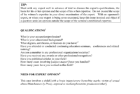 Sample Questions For Expert Witness with Expert Witness Report Template