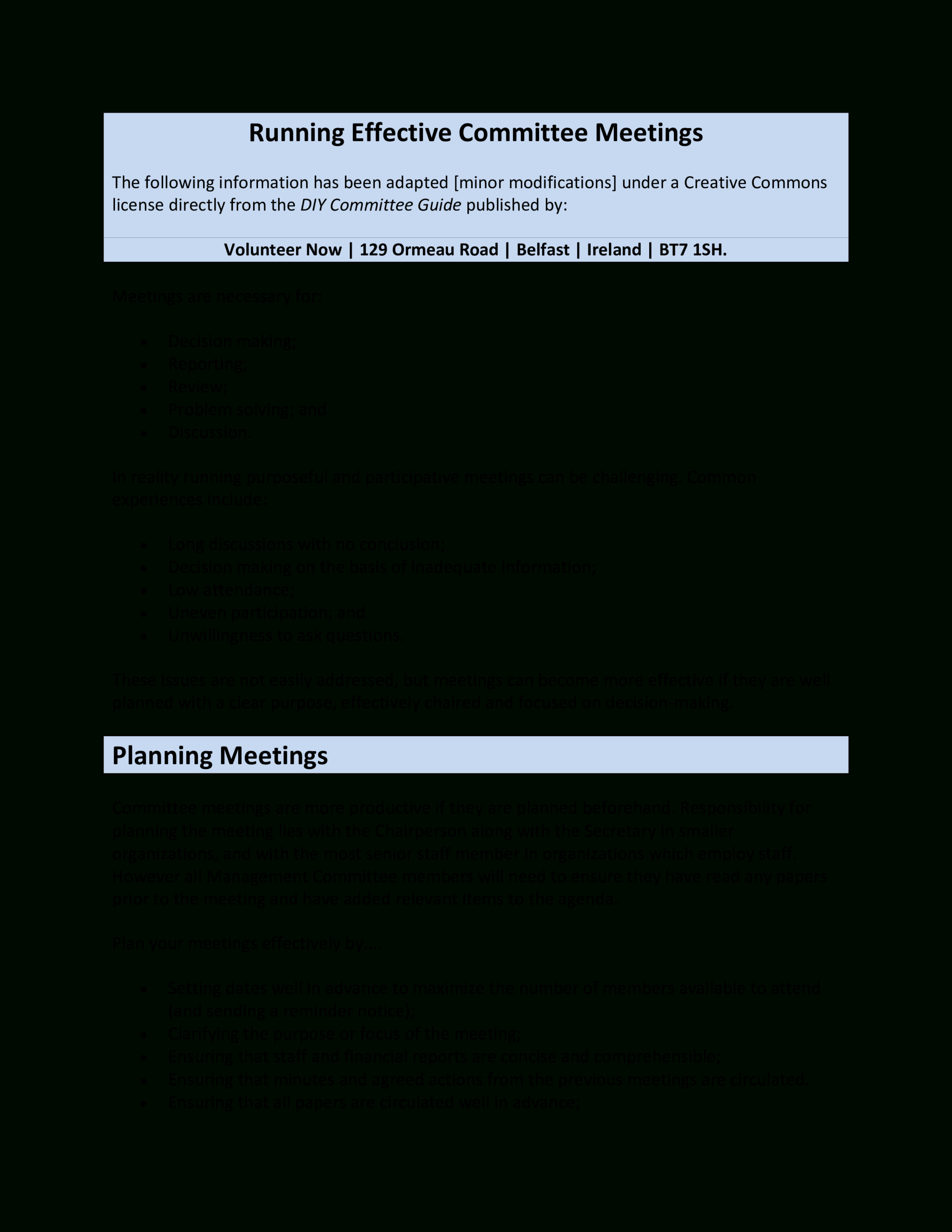 Sample Running Effective Committee Meeting Agenda With Committee Meeting Agenda Template
