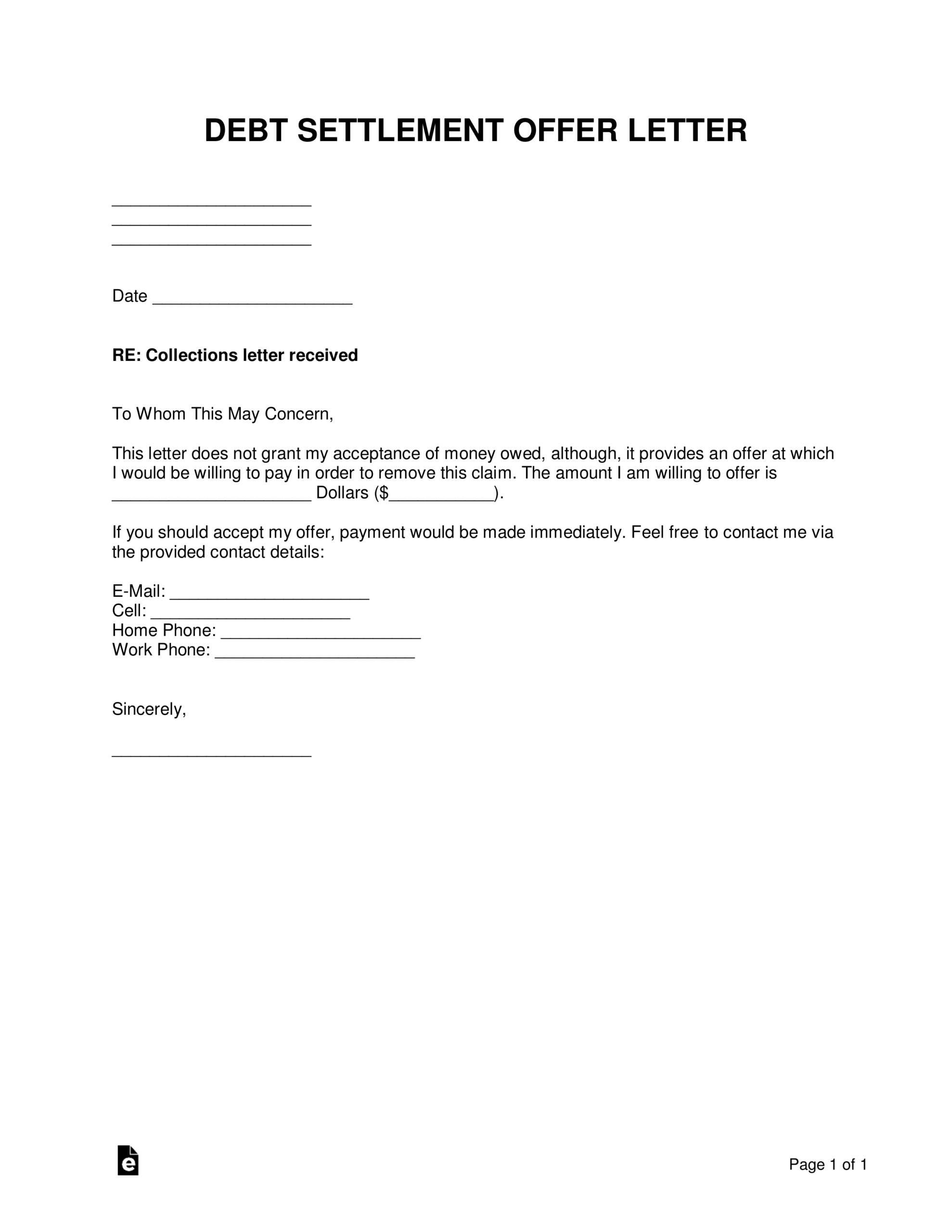 Sample Settlement Letters - Tunu.redmini.co With Debt Negotiation Letter Template