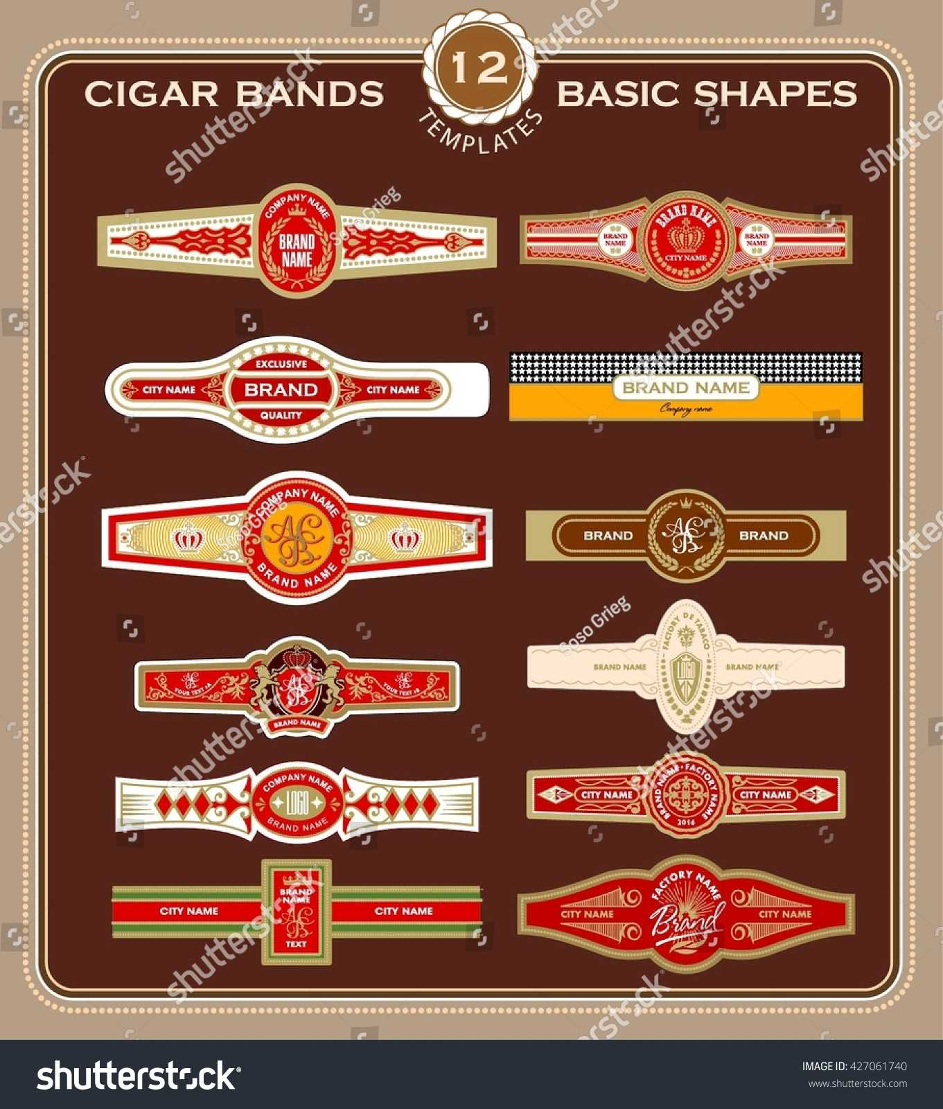 Set Cigar Band Design Templates Stock Vector (Royalty Free In Cigar Label Template
