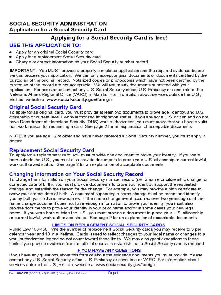 Social Security Application Form - 5 Free Templates In Pdf Regarding Editable Social Security Card Template