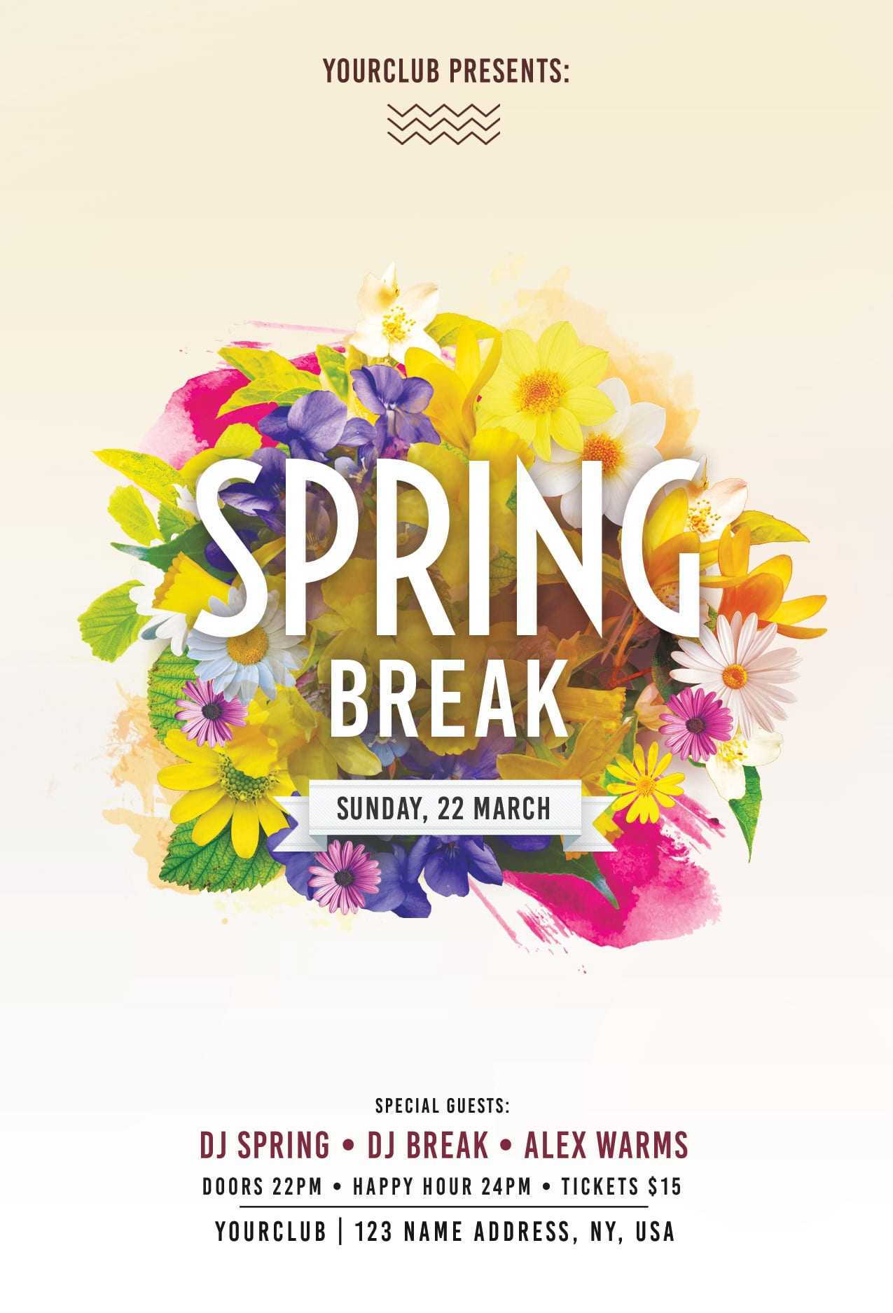 Spring Break Free Psd Flyer Template - Free Psd Flyer Within Free Spring Flyer Templates