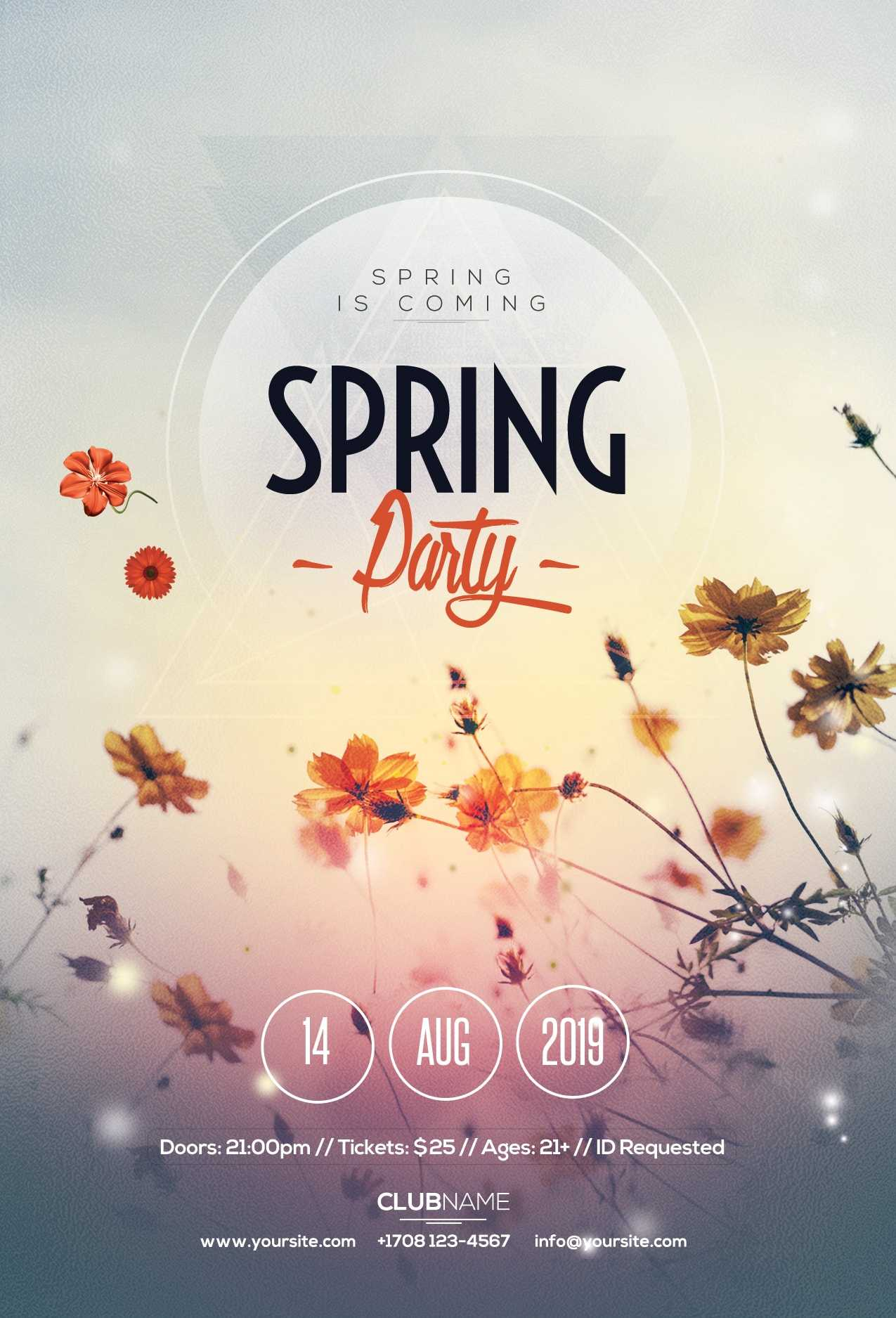 Spring Party Free Psd Flyer Template - Free Psd Flyer Regarding Free Spring Flyer Templates