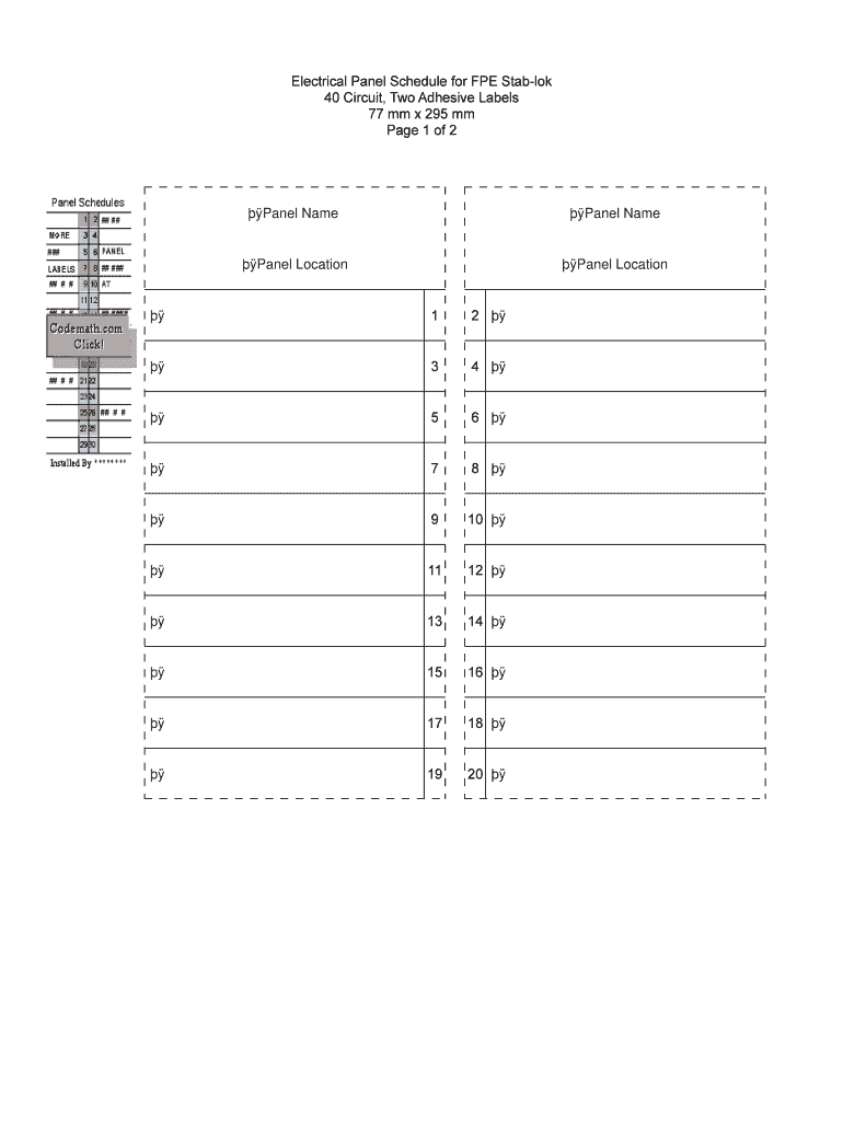 Square D Template - Fill Online, Printable, Fillable, Blank With Regard To Electrical Panel Labels Template