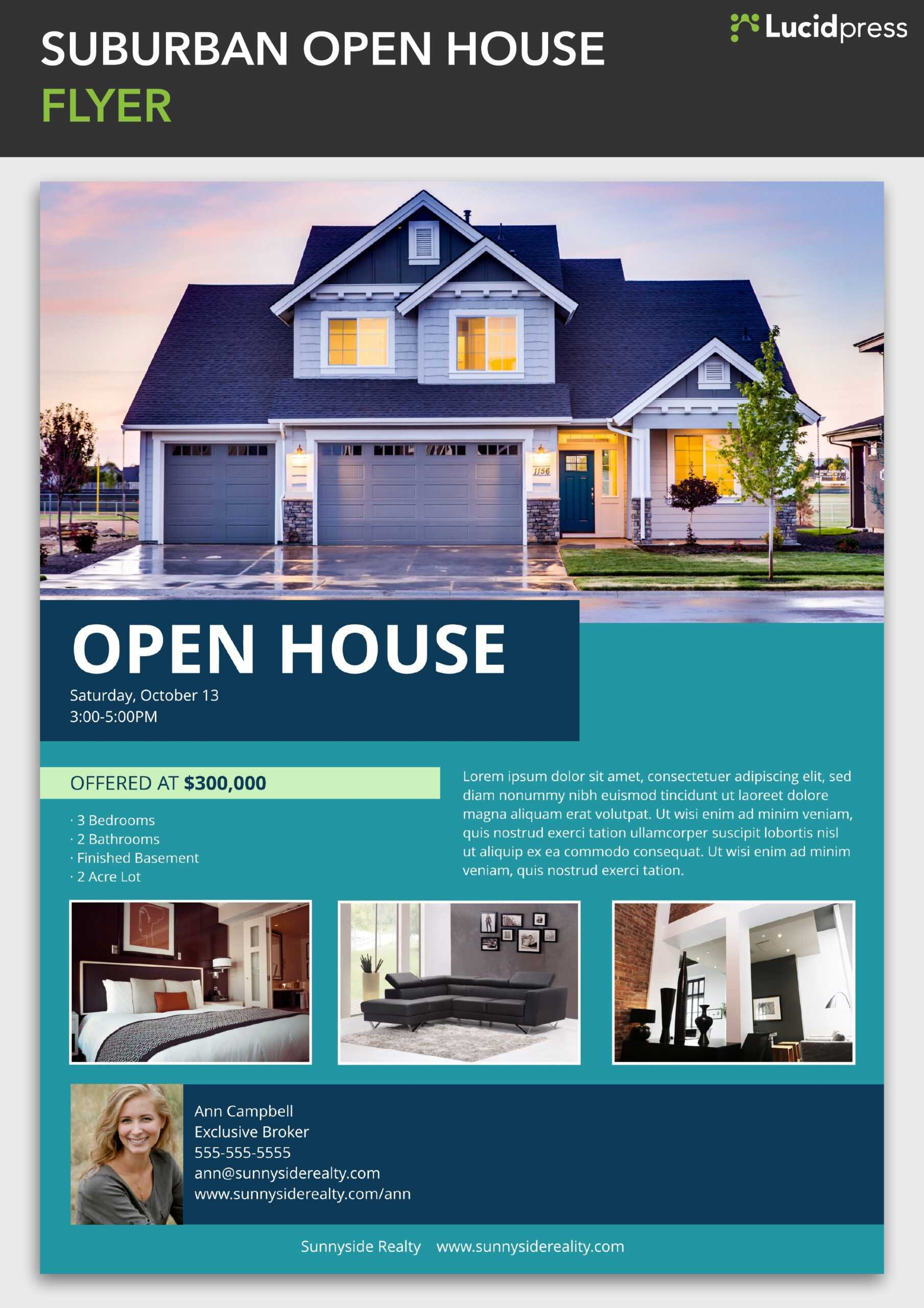 Suburban Open House Flyer Template | Lucidpress With Regard To Free Open House Flyer Template