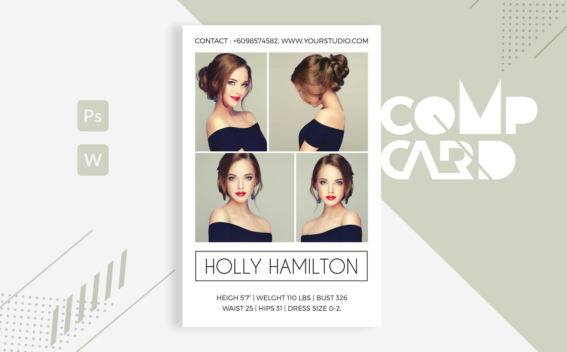 Template 83225 : Holly Hamilton – Modeling Comp Card Throughout Download Comp Card Template