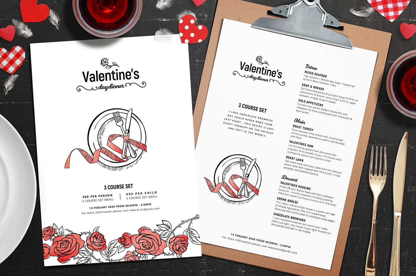 Valentine's Day Menu Template In Psd, Ai & Vector For Free Valentine Menu Templates