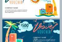 Vector Gift Travel Voucher Template. Tropical Island with Free Travel Gift Certificate Template