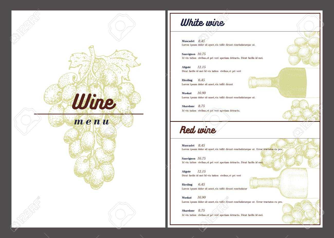 Vector Wine Menu Template. Can Be Use As Menu, Wine Card Design. With Regard To Free Wine Menu Template