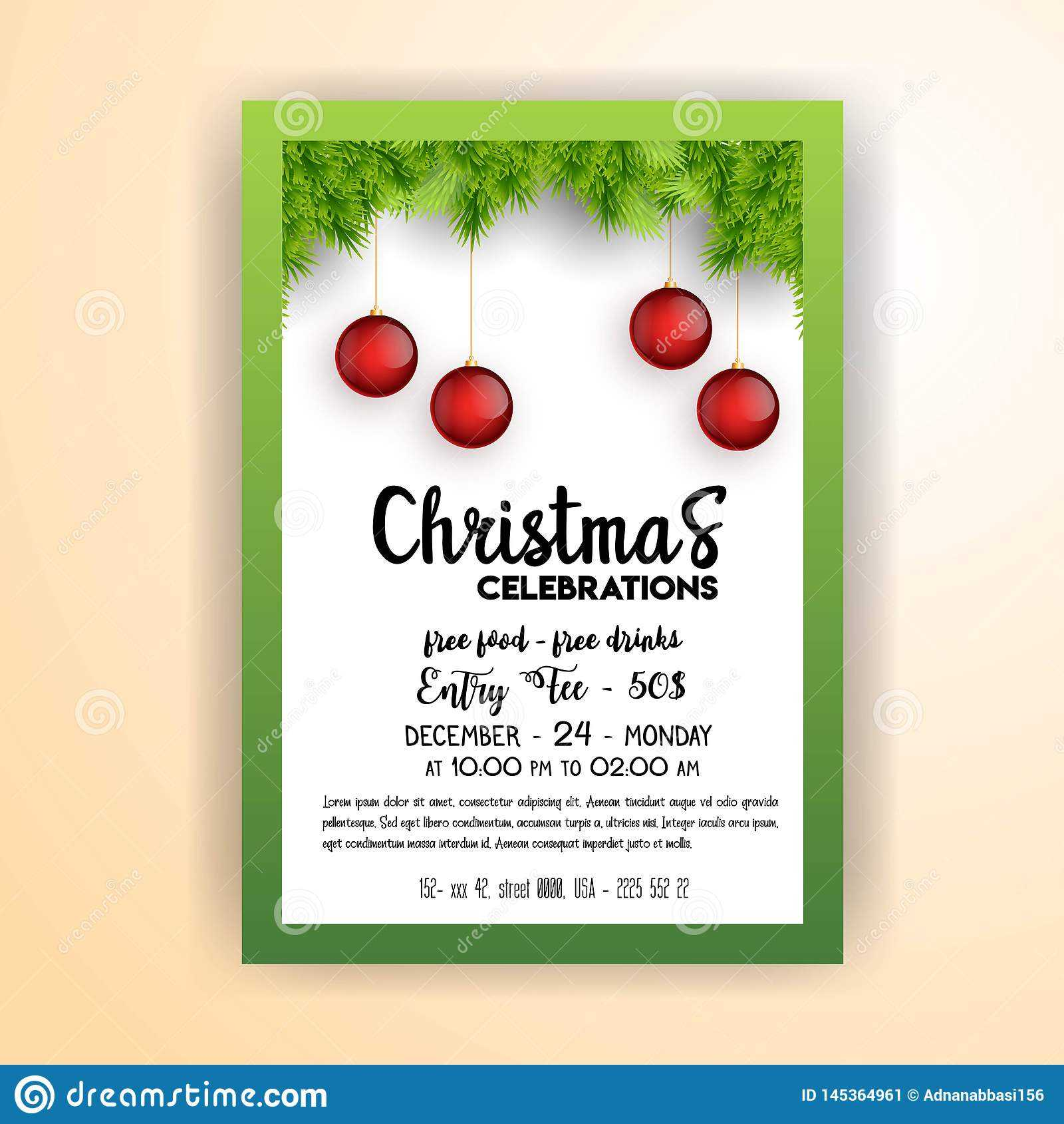 Vintage Christmas Party Flyer Template Stock Vector Throughout Free Christmas Party Flyer Templates