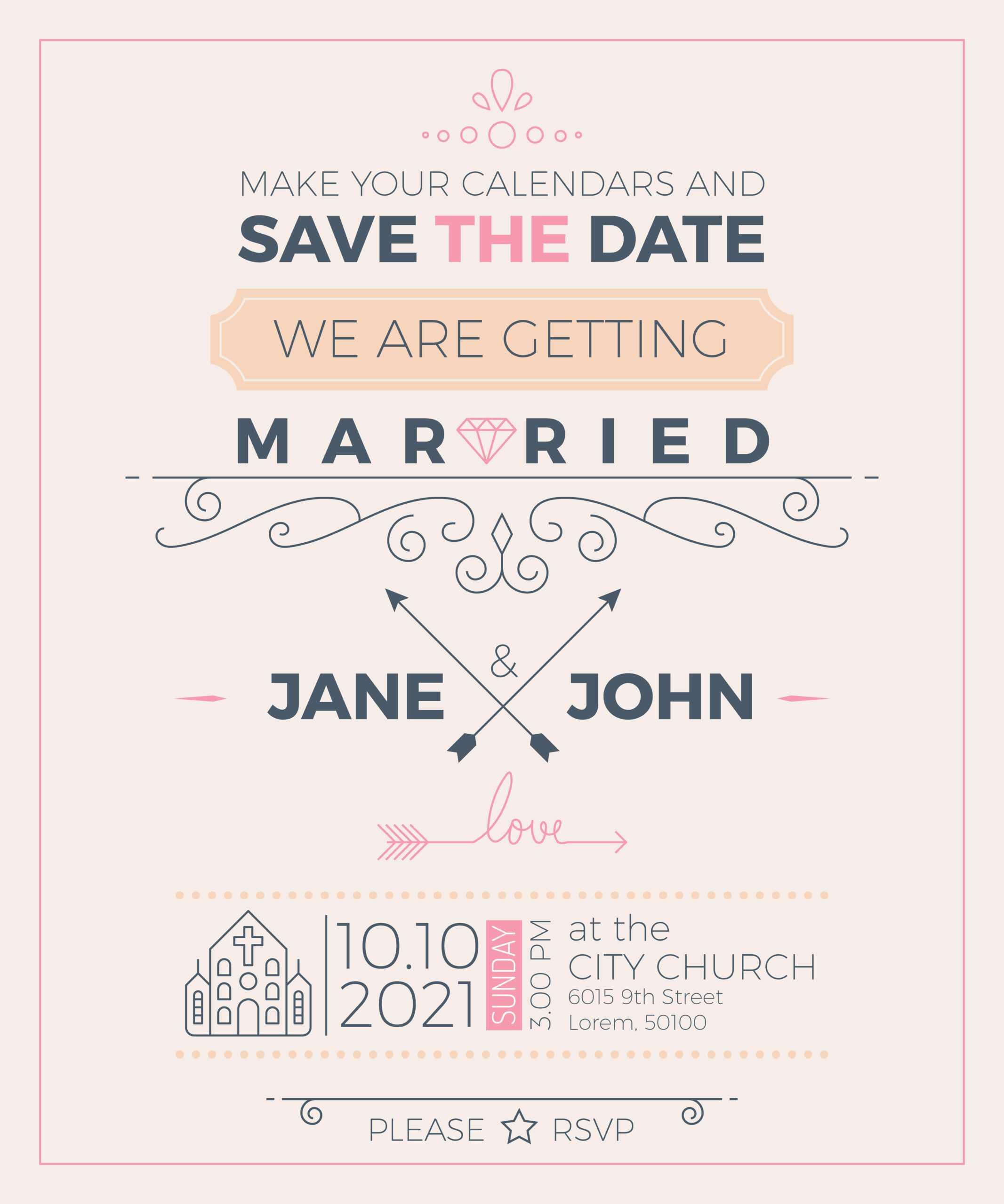 Vintage Wedding Invitation Card Template - Download Free With Church Wedding Invitation Card Template