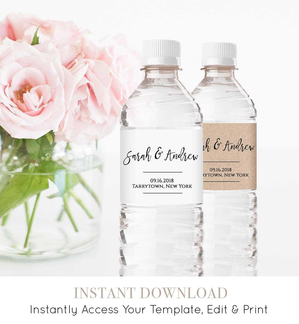Wedding Water Bottle Label Template, Printable, Diy Throughout Diy Water Bottle Label Template