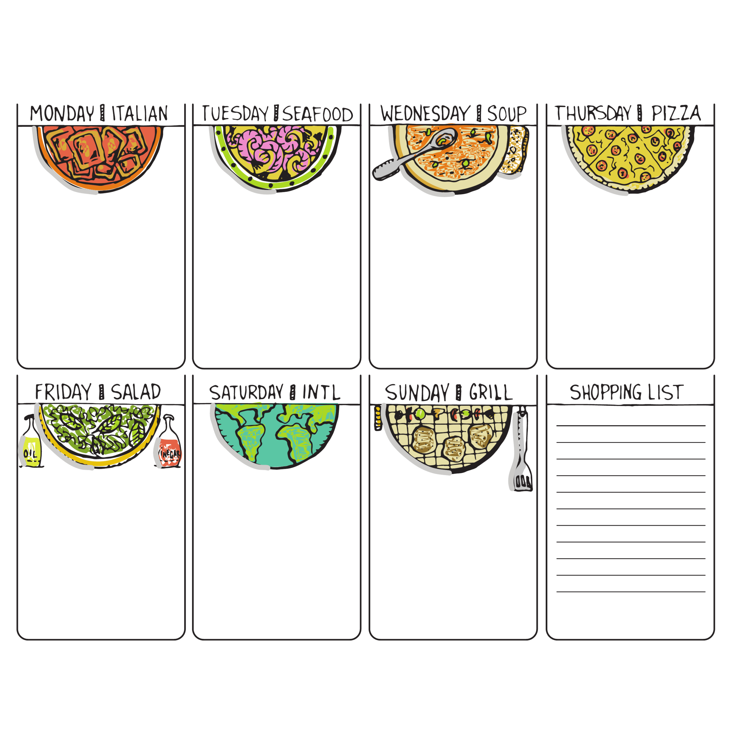 Weekly Menu Template Templates Printable Free Planner Regarding Editable Menu Templates Free
