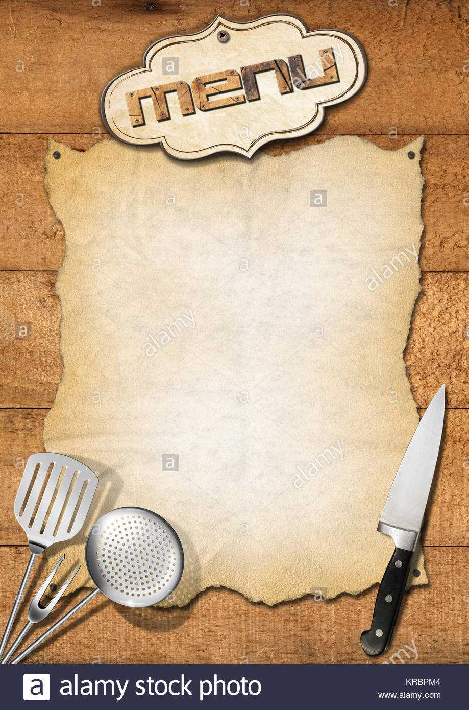 Wooden Boards With Empty Parchment And Kitchen Utensils With Regard To Empty Menu Template
