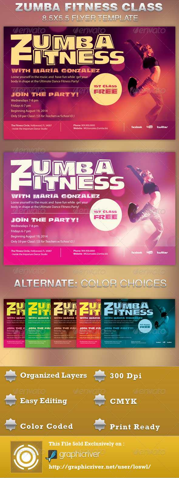 Zumba Flyer Graphics, Designs & Templates From Graphicriver Within Free Zumba Flyer Templates